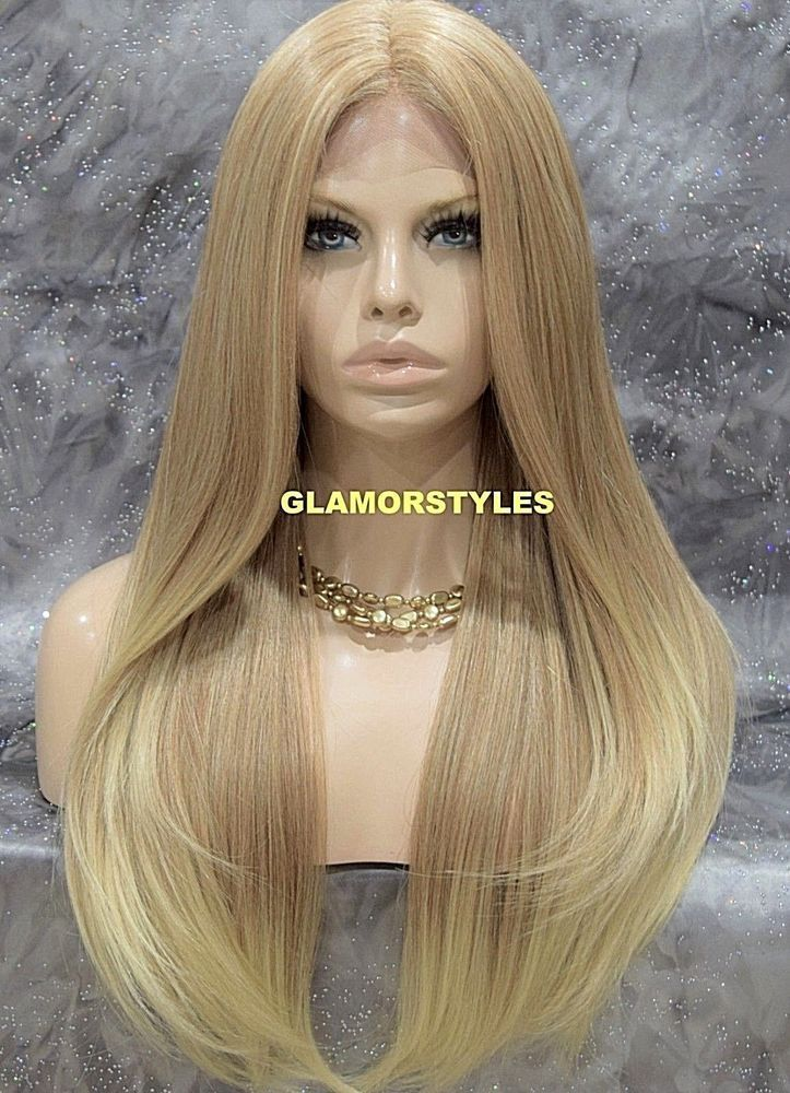 Long Layered Straight Medium Blonde Mix Lace Front Full Wig Heat Ok Hair Piece Layered Medium Blonde Wigs Lace Front Wigs