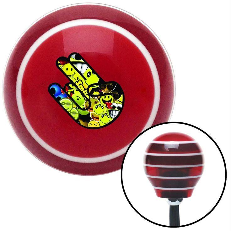 Smiley Face JDM Shocker Hand Red Stripe Shift Knob with M16 x 15 Insert