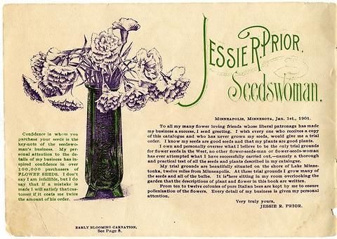 """This letter written by Jessie Prior to her customers can be found in the front of her 1901 catalog.  It ensures them they can buy seeds through her with """"confidence."""""""