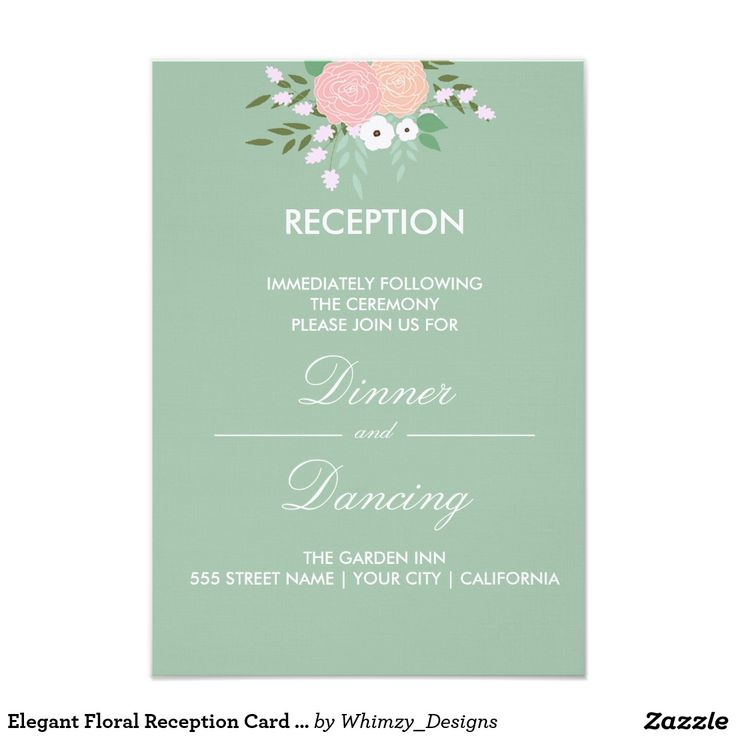 zazzle wedding invitations promo code%0A Elegant Floral Reception Card  mint