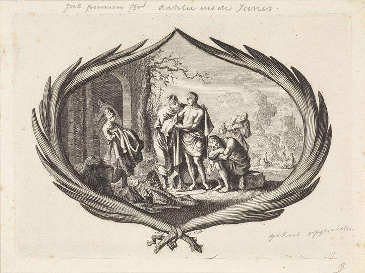 Jan Luyken | Naakten kleden, Jan Luyken, Pieter Mortier, 1700 | Een voorstelling in een cartouche van palmtakken. Een man deelt voor zijn huis kleren uit aan naakte armen, een van de werken van barmhartigheid. Onder de cartouche de Bijbelreferentie Mat. 25:36.