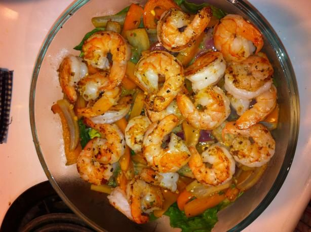 Warm, Spicy, Shrimp Salad from Food.com:   This healthy recipe was inspired by a local restaurant's warm calimari salad.