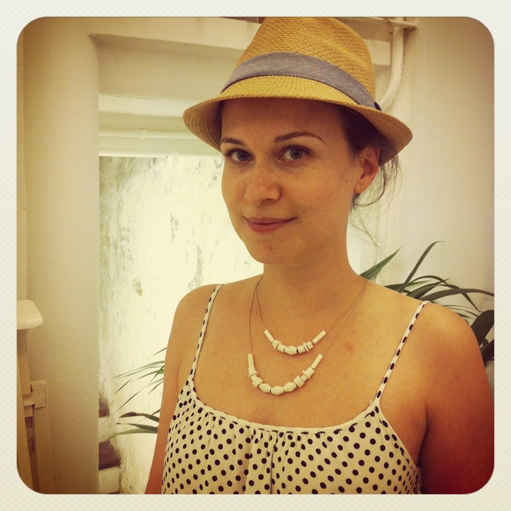 Happy customer with her Creme necklace.