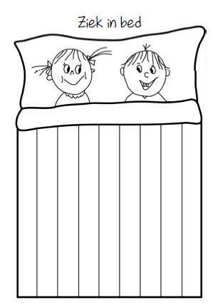 Ziek in bed - vlechten Print het sjabloon 'ziek in bed' en snijd de verticale lijnen van het deken met een stanleymes. De kinderen vlechten een mooi deken met smalle repen.