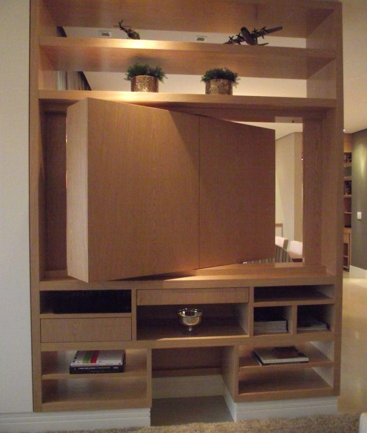 Housing Interiores - tv giratória- integrando sala de jantar e home theater....