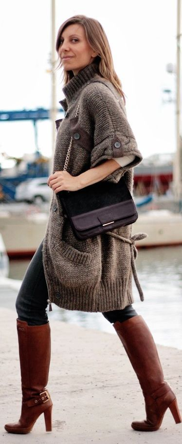 Brown Oversize Cable Knit Short Sleeve Cardigan