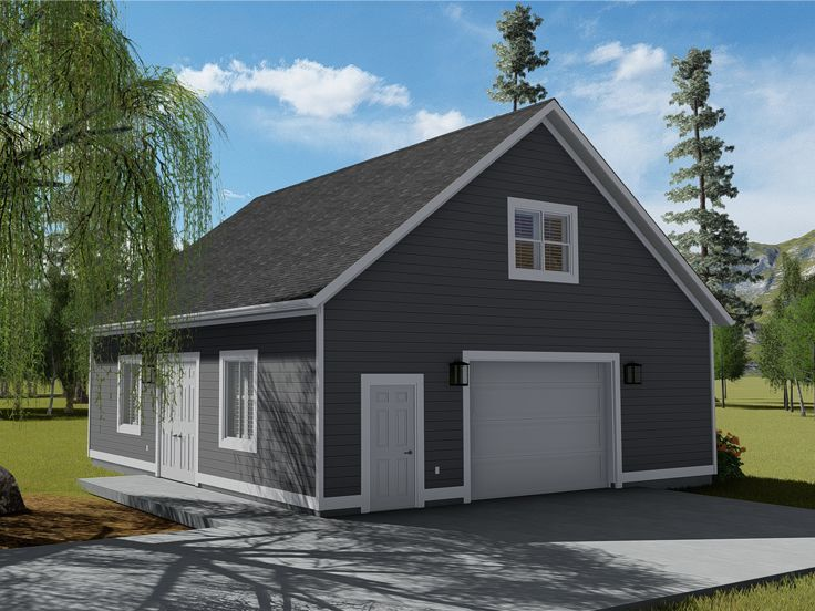 065g 0011 2 Car Garage Plan With Loft And Half Bath 36 X32 Garage Plans With Loft Garage House Plans Garage Plans