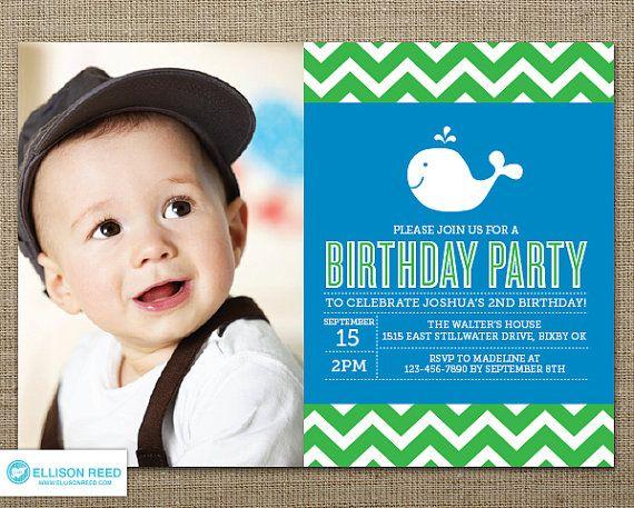 Whale Birthday Invitation - Whale Printable - Nautical invitation - Chevron invitation - Boy Birthday - First Birthday invitation