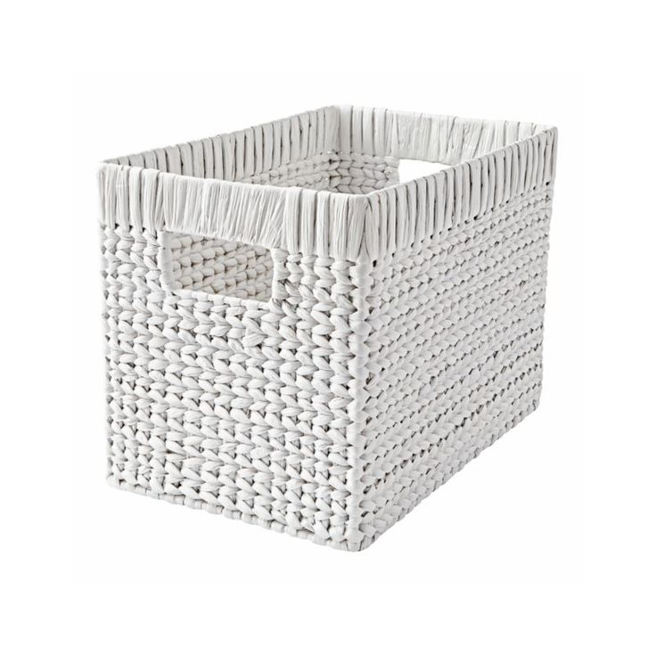 Shop White Wicker Basket. If we had to come up with one word to describe these small wicker storage baskets, it would have to be wonderful. That's because they're made by hand from water hyacinth, making each one truly unique.
