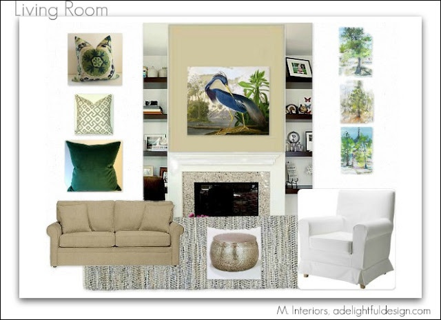 Living room design green blue beige and gray client for Green and beige living room ideas