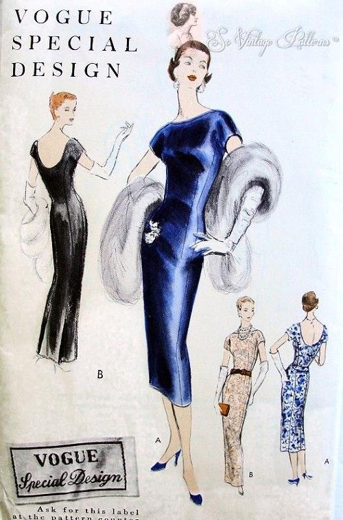 1950s  Slim Evening Gown or Cocktail Dress Pattern Slim Sheath Figure Hugging Style  Bateau Style Neckline, Low Scoop Back Vogue Special Design 4652 Vintage Sewing Pattern Bust 32