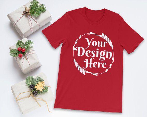 Download Bella Canvas 3001 Red Unisex T Shirt Mockup Shirt Mockup Winter Mockup Christmas Mockup Fall Mockup Styl Tshirt Mockup Christmas Tshirts Shirt Mockup