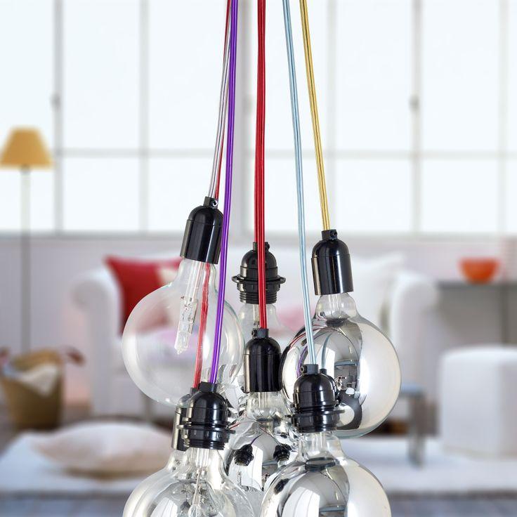Suspensions design luminaires decovision avec ampoules apparentes et fils couleur