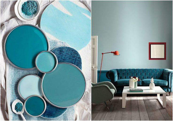 déco bleu canard, turquoise et vert sarcelle- idée de peinture murale et meubles chics