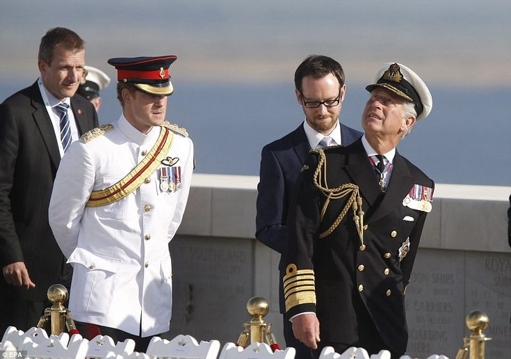 Prince Charles and Prince Harry visit the Cape Helles English Memorial during a commemorative event of the Battle of Gallipoli