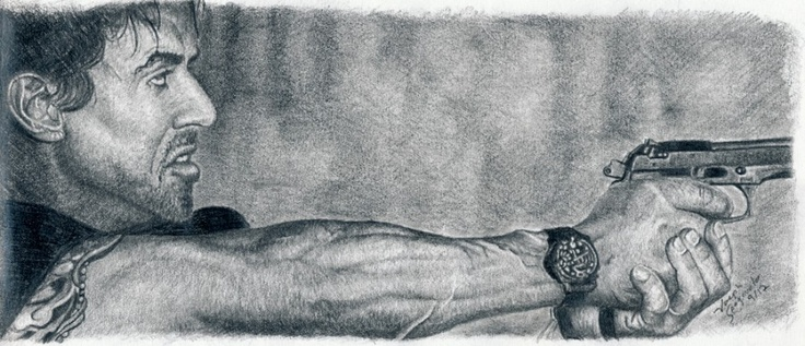 This is a drawing I did of Sylvester Stallone in the movie ...
