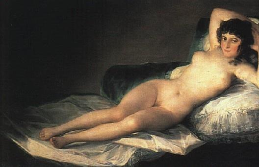 """프란시스코 고야, """"벌거벗은 마하"""", 1800-1803, 캔버스에 유채, 프라도 미술관.  아름다운 여성만 노출할 수 있는가? 추한 여성은 노출할 수 없는가? 정숙한 비너스(Venus Pudica)라고 일컫어지는  아름다운 여성의 누드는 셀 수 없이 많다. 그들은 하나같이 이상적인 몸을 가지고 있으며 성(性)적인 부위를 은근히 가렸다. 그림 속 여인을 보라.  여신도 아닌, 미녀도 아닌 여인이 당당하게 몸을 드러내고 있다. 비너스같은 몸을 가진 여성이 얼마나 될 지는 몰라도 매우 드물 것이다. 그림 속 여성은 현실이다. 비너스처럼 아름다운 여성은 극소수다. 비너스에 비해 추한 여자들이 다수인 세상에서, 이 그림은 매우 진실되다."""