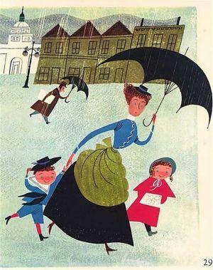 Mother + Children in the Rain.