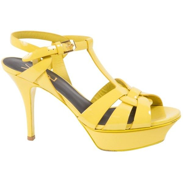 Pre-owned Saint Laurent Tribute Patent Leather Sandals ($373) ❤ liked on Polyvore featuring shoes, sandals, women shoes sandals, yellow, high heels sandals, platform shoes, golden shoes, high heel platform sandals and yellow shoes