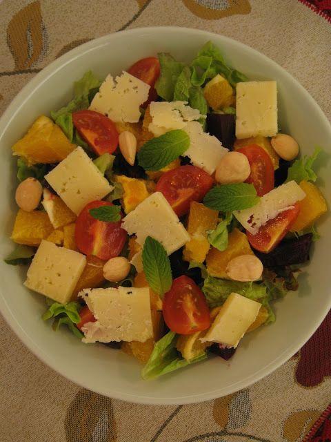 Ingredientes    1 beterraba cozida  1 laranja  alface  tomate maduro ou tamarinhos cherry  queijo da Ilha  amêndoas torradas  vinagre  az...