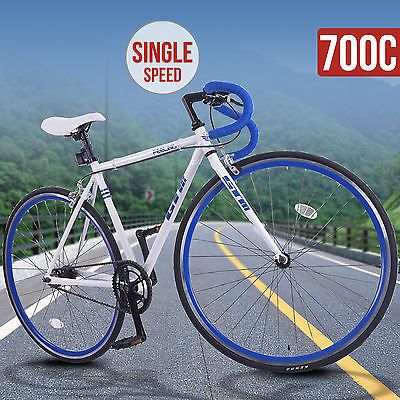 700C White Blue Road Bike Single Speed Aluminum Frame Racing Bicycle Fixed Gear