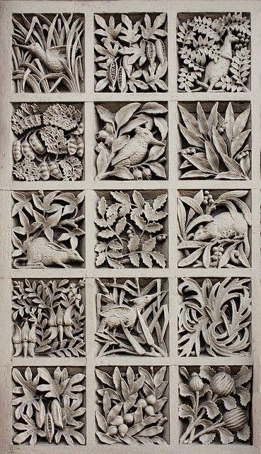 Panel of Australiana motifs, former South Yarra Post Office, Designed: AJ MacDonald, Public Works Department. Erected:1892-3. Victorian Period (1851-1901). Romanesque Style. Australia - Melbourne | Photo by Chris&Steve