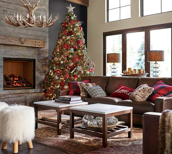 Would love to have this room from Pottery Barn (except for the antler chandelier...and the abominable snowman ottoman...)    :)