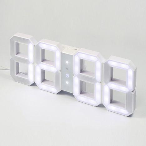 White and White Clock by KibardinDesign: Vadim Kibardin, Alarm Clocks, White Led, Digital Clocks, Wall Clocks, Products Design, Digital Led, Led Clocks, White Clocks