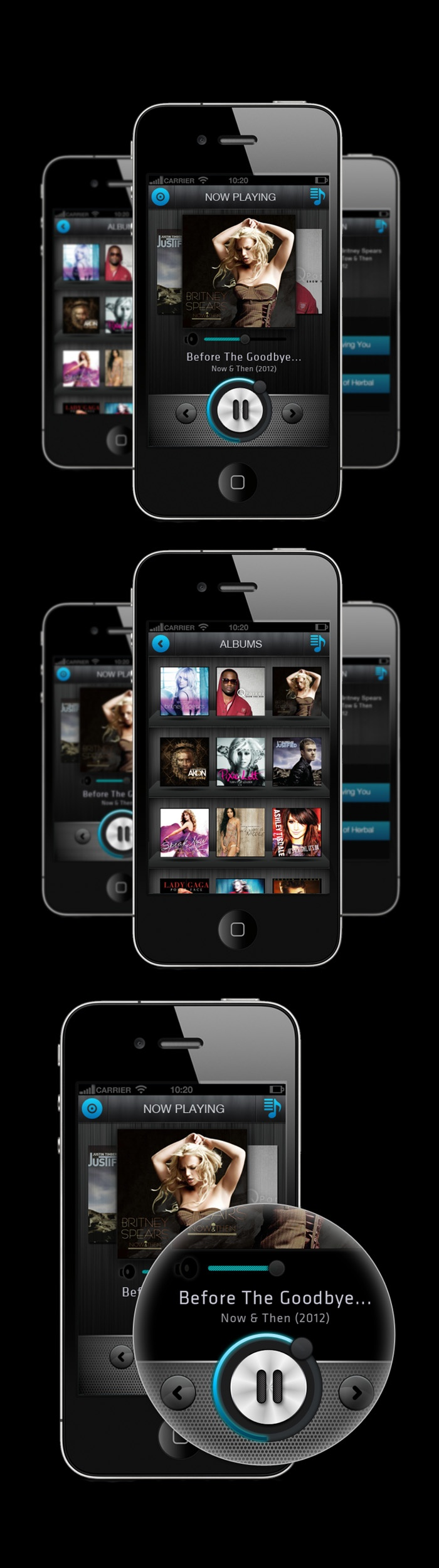 Simple concept iphone music player by kiran pingle