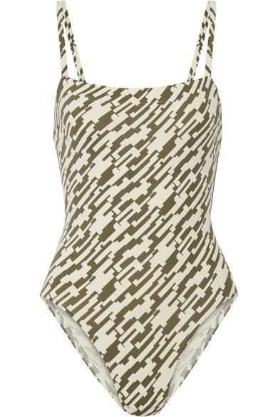 Eres - Aquarelle Printed Swimsuit - Army green - FR