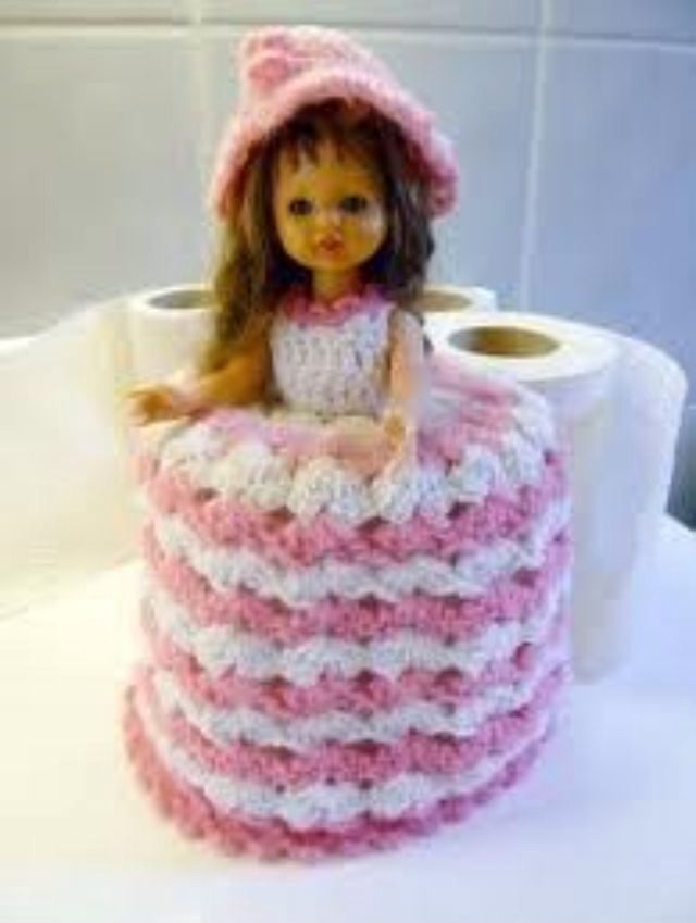 Toilet Roll Cover Knitting Pattern : Knitted toilet roll cover doll 80s baby. Pinterest