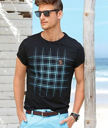 Tricouri ieftine: Tricou barbati Slim Fit negru imprimat turcoaz