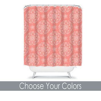Coral Shower Curtain Monogram Medallion CUSTOM You Choose Colors Mandala Flower Floral Bathroom Bath Polyester Made