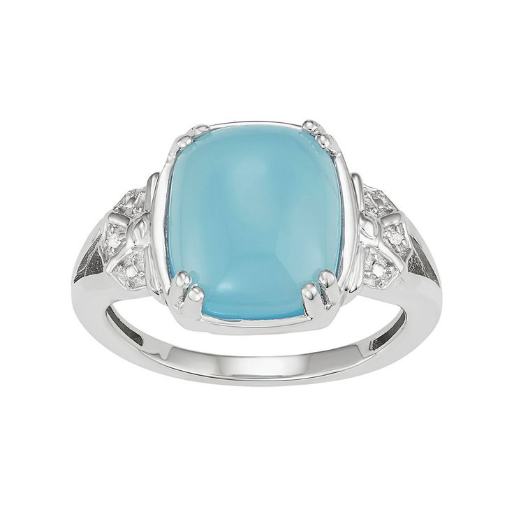 Sterling Silver Blue Chalcedony Cabochon & Diamond Accent Ring, Women's, Size: 7