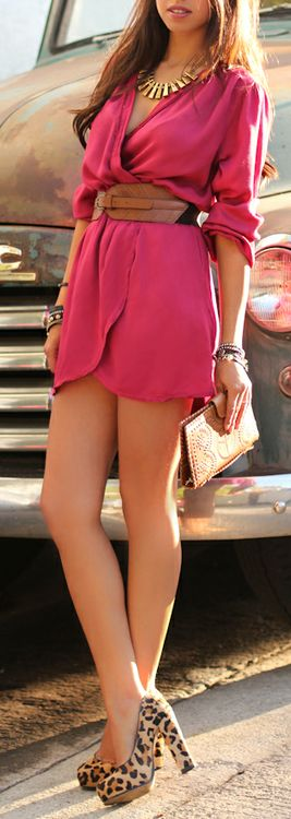 .: Leopards Heels, Leopards Shoes, Pink Dresses, Color, Outfit, Hot Pink, The Dresses, Wraps Dresses, Belts