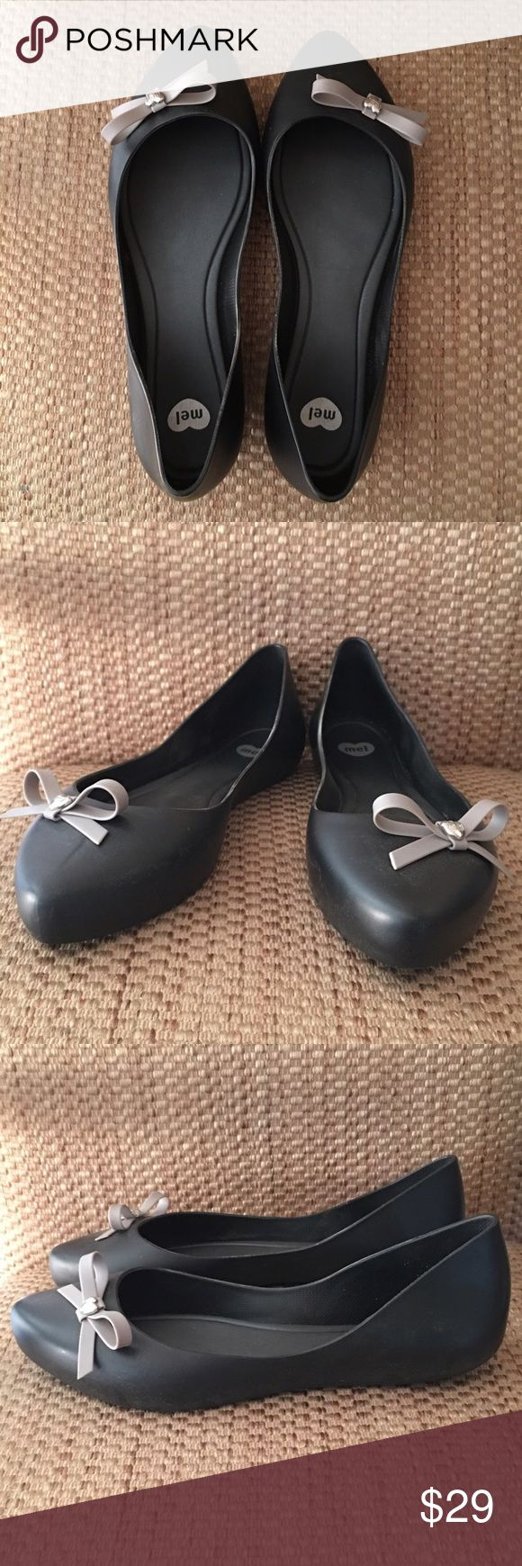 Melissa flats Mel by Melissa Dreaming Bow flats, only worn indoors, black with gray bow and silver heart accent. Melissa Shoes Flats & Loafers