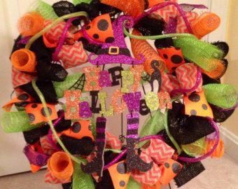 Chevron orange et noir toile de jute avec Orange et vert maille déco et ruban guirlande Happy Halloween