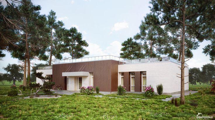 Проект просторного одноэтажного дома с плоской крышей