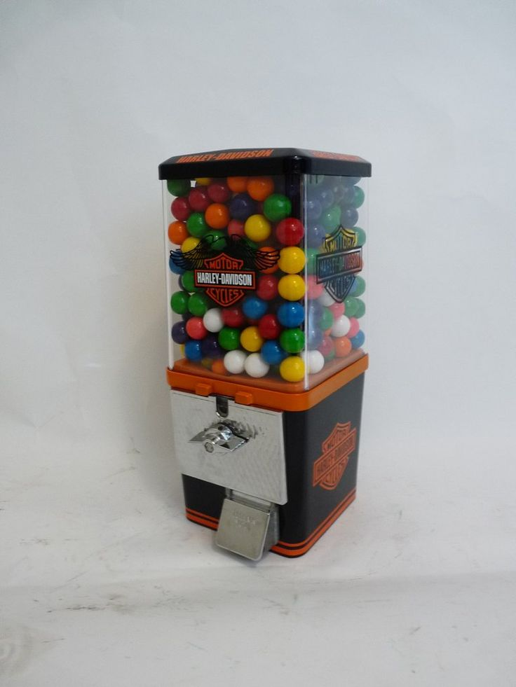 Vintage 25 ¢ Gumball Vending Machine,  completely restored and themed to HARLEY DAVIDSON                                                     This Machine is all metal  complete with all original components including: * Machine Base & Body –black & orange * 25 ¢ Coin Mechanism * Lock and Key * Original nuts/candy Wheel gumball are not included * Vinyl Decals and Vinyl Letters to match theme all metal