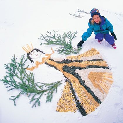 Birdseed Snow Angel - oh what fun, and what a great time for the angel artists AND their feathered friends! :)