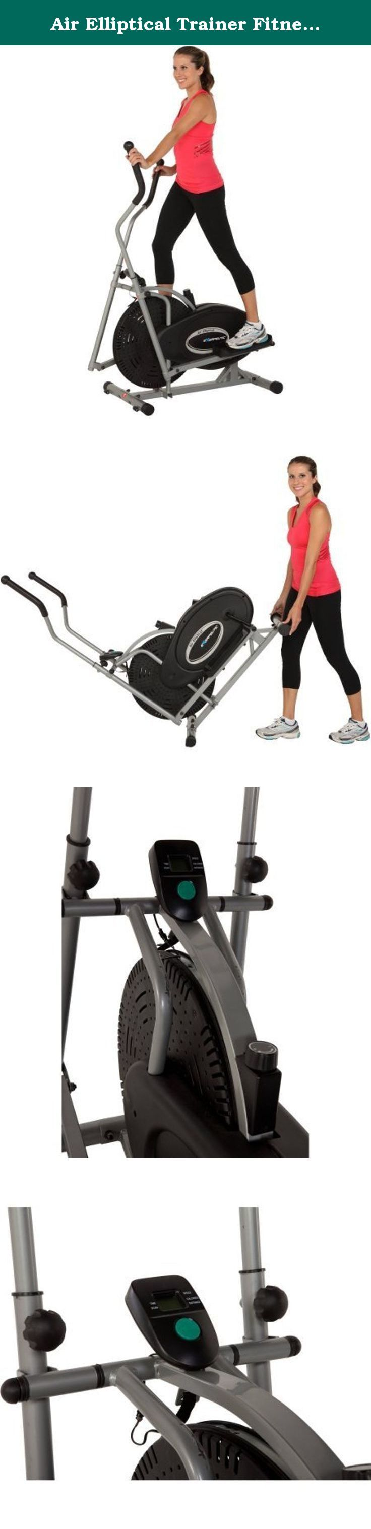 Air Elliptical Trainer Fitness Exercise Cardio Workout Training Home Gym Equipment Natural Elliptical Motion Eliminates Stress on Joints Ankles, Tension Resistance Adjustment User Weight Up to 220 lbs. Natural Elliptical Motion eliminates any stress on joints and ankles Weight capacity: up to 220 lbs Tension resistance: easy dial tension adjustment for a more challenging workout An easy-to-read LCD screen indicates distance, calories burned, elapsed time and speed Larger pedal design with...