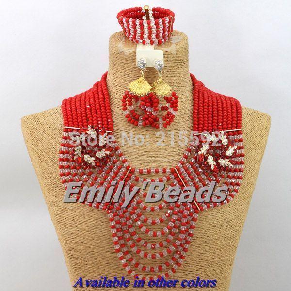 2014 Мода Нигерии Свадьба Африканский Комплект Ювелирных Изделий Костюма Ясно Серебряный смешанная Красный Хрустальные Бусины, Свадебные Украшения, Наборы AES378