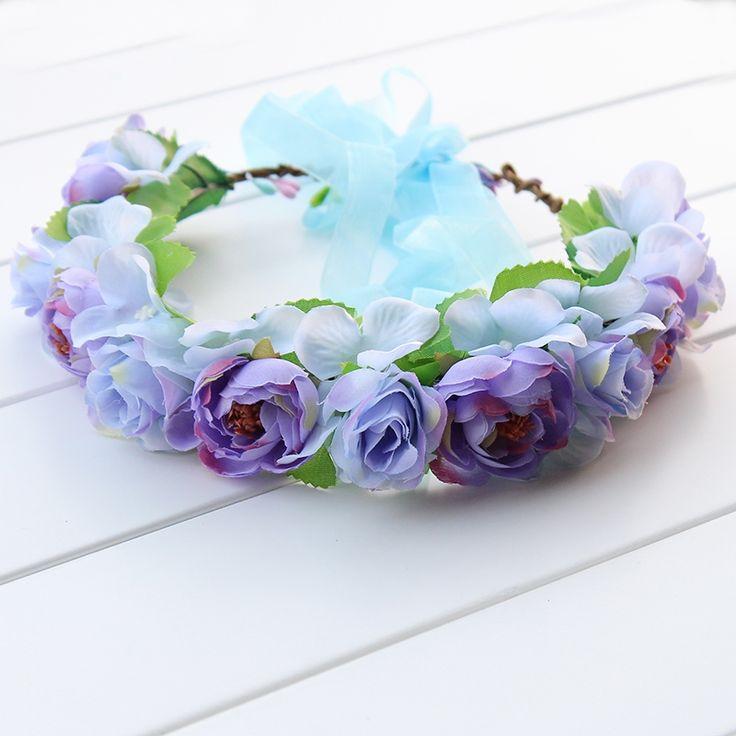 5.50$  Buy here - http://alijaf.shopchina.info/go.php?t=32803775896 - roses camellia Hydrangea Headpiece Wedding Hair Accessories Floral Crown Boho Halo Artificial Silk Flower Crown Headband  #bestbuy