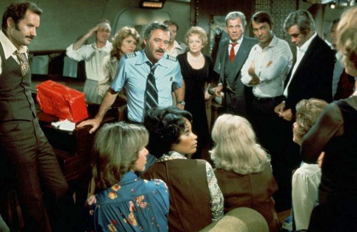 Jack Lemmon, Joseph Cotten, Gil Gerard, James Booth, George Furth, Beverly Gill, and Brenda Vaccaro in Airport '77 (1977)