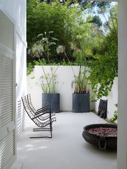 Not white as it would be too bright but like the large pots and plants & water feature.