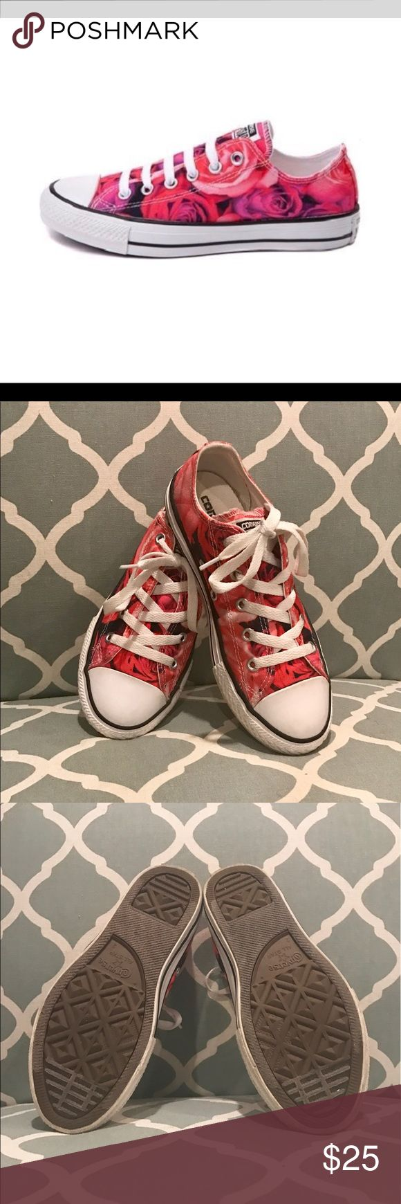 Floral Converse ( girls) Great condition girls converse so cute lightly used some of stamp on heel is worn from normal wear like converse seem to do. Other than that these are great condition size girls 2 Converse Shoes Sneakers