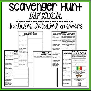 Africa Scavenger Hunt - Research Based