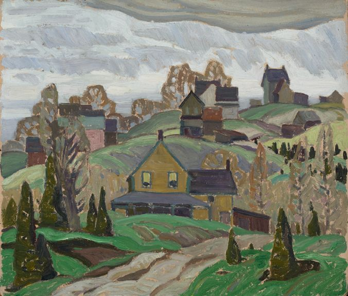 """Houses, Bradford,"" Franklin Carmichael, oil on board, 10 x 12"", Robert McLaughlin Gallery."
