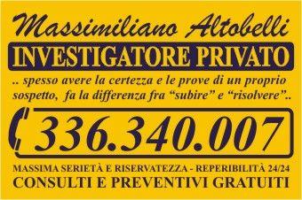 Massimiliano Altobelli - Investigatore Privato  a Roma dal 1995. Tel. 336.340.007