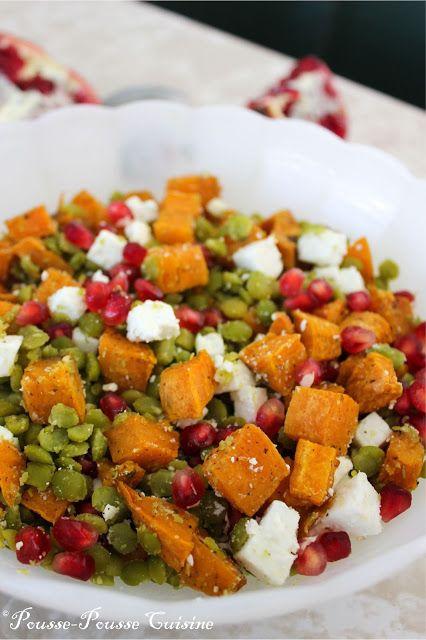 Pousse-Pousse Cuisine: Salade pois cassés, feta, patate douce et grenade